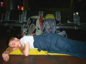 My friend, sleeping in Union Station