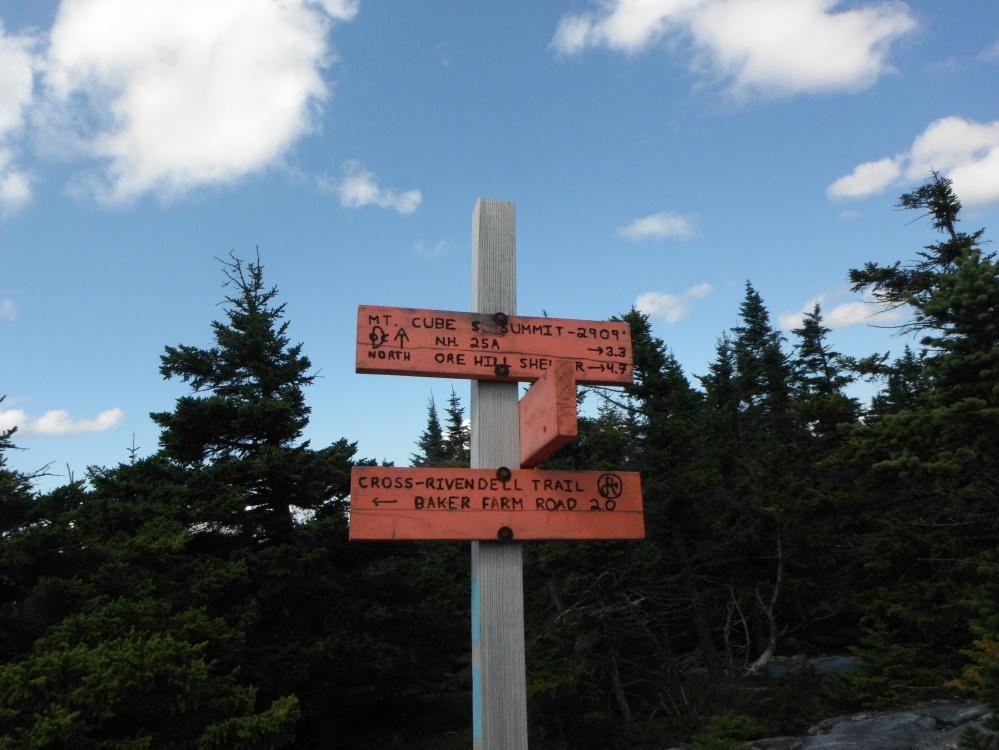 Dartmouth Outing Club signs near beautiful Mount Cube