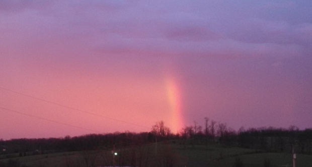 A fiery rainbow at the farm tonight