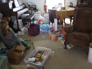 The chaos of a resupply-packing day